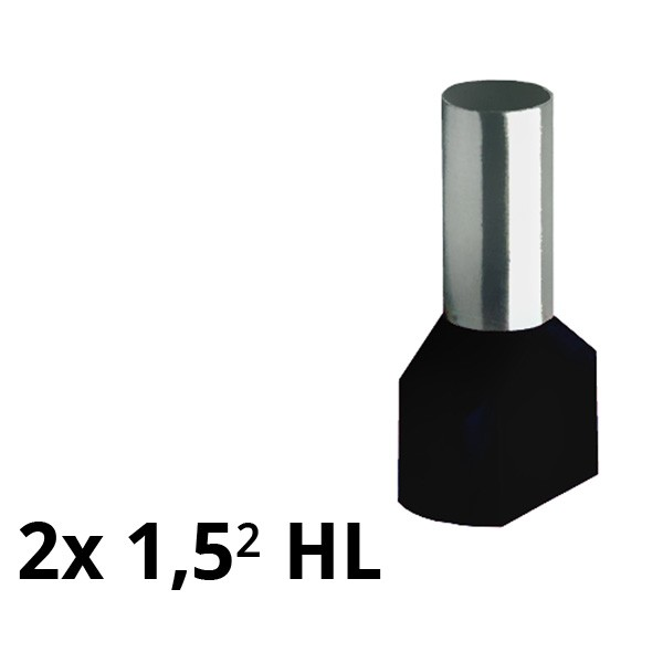 SIAM-Aderendhülse isol. 2x 1,5² HL